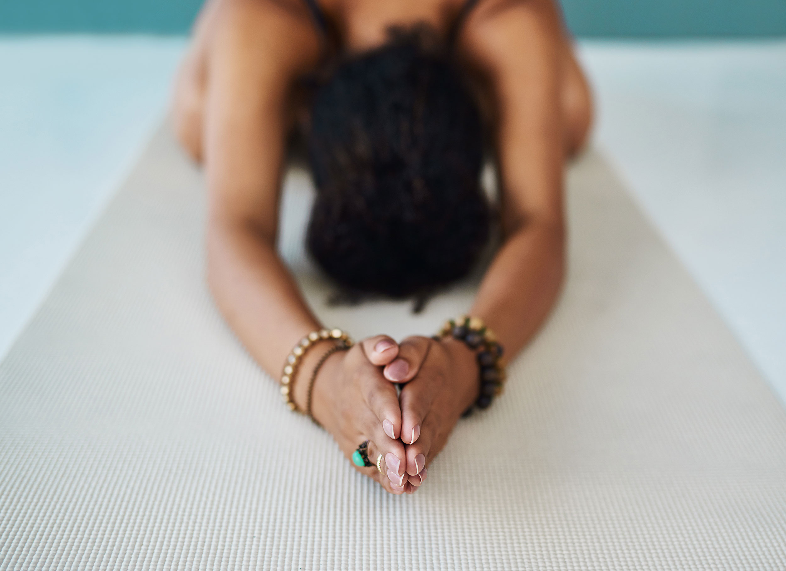 Woman practicing her yoga poses